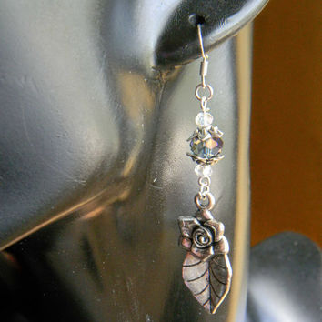 Silver Rose Feather Elegant Earrings
