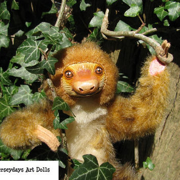 posable sloth art doll ooak rainforest animal jungle miniature faux fur handmade by Jerseydays