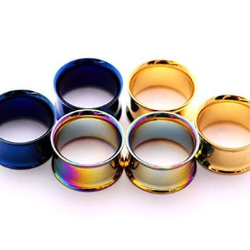 Set of 3 Pairs Steel Double Flare Tunnels - 00g - 10mm - (Blue, Gold, Rainbow)