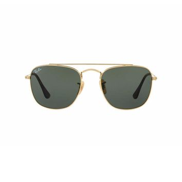 New Authentic Ray Ban Sunglasses RB3557 Gold Metal 001 51mm Green Square UV Lens