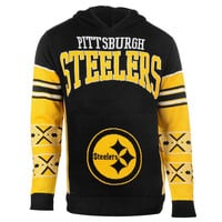 Men's Pittsburgh Steelers NFL Klew Black Big Logo Sweater Pullover Hoodie