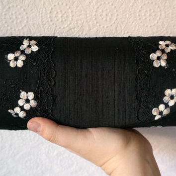 Black clutch bag, onyx black silk clutch with white flower lace