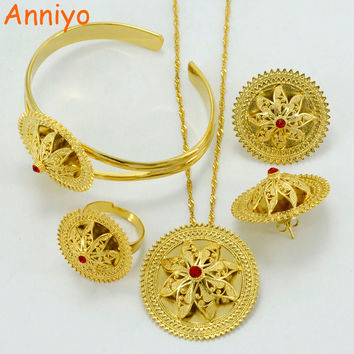 Anniyo Ethiopian Ethnic Jewelry Sets Necklace/Earrings/Ring/Bangle Gold Color Africa Bride Wedding Eritrea Habesha sets #052502
