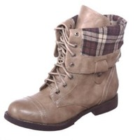 New! Military Combat Boot Fold-over Cuff + Zipper on the Back Multiple Color,Chess-3 Beige 6.5