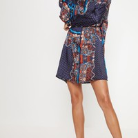 Navy Paisley Scarf Print Shirt Dress