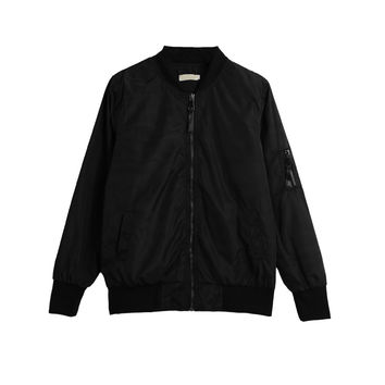 Vintage Zip Up Slim Short Bomber Jacket in Black