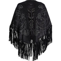 River Island Womens Black studded fringed leather cape