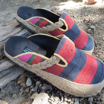 Vegan Womens Shoes in  Red And Black Tribal Naga Slip On Slides Clogs - Sydney