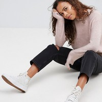 ASOS PETITE Jumper In Fluffy Yarn With Crew Neck at asos.com
