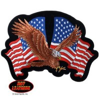 """Embroidered Iron On Patch - American Eagle with Flags 4"""" x 3"""" Patriotic"""