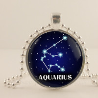 Aquarius birth sign, Zodiac, Astrology glass and metal Pendant necklace Jewelry.