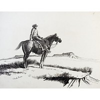 Cowboy on Horseback Drawing