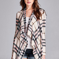 Blush Burberry Inspired Plaid Cardigan