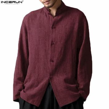 Incerun Retro Chinese Style Stand Collar Long Sleeve Soft Cotton Men's Casual Shirt