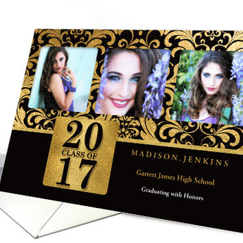 Class of 2017 Graduation 3-Photo in Gold Effects and Black card