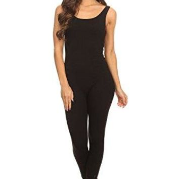Stretch Cotton Bodysuit Women's Scoop Neck Sleeveless Stretch Cotton One piece Jumpsuits Unitard Bodysuits(&Plus)