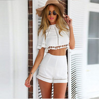 Lovesky New Arrival Summer Backless Hollow Half Sleeve Sexy White Two Piece Set Women Crop tops Shorts Vestidos Freeshipping