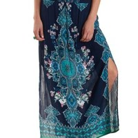 Navy Combo Paisley Placement Print Maxi Skirt by Charlotte Russe
