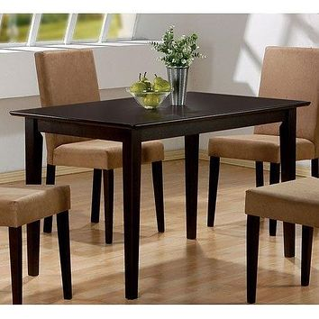 Casual Rectangular Dining Table in Dark Brown Cappuccino Wood Finish