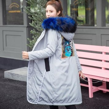 Winter Women's Large Fur Collar Jacket Coat Thickening Back Patch Designs Women's Parkas Fashion Women Down Cotton Jacket Parkas