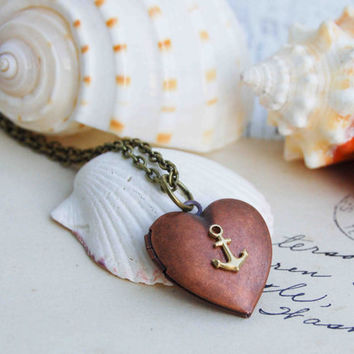 Sailor's VALENTINE Locket Necklace Nautical by redtruckdesigns