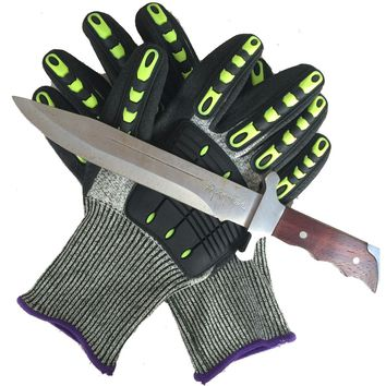 TPR Full Finger Cut Resistant Safety Gloves Riding Cycling Gloves Protective Hands from Knife (one pair)