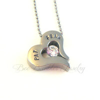 Hand Stamped Heart with Crystal Necklace - Heart jewelry - Personalized Jewelry
