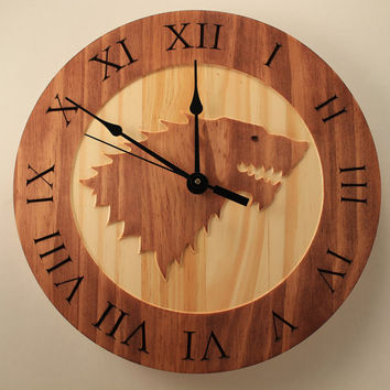 Game of thrones House stark Wood clock Wall clock Wooden wall clock Decorative clock Animal clock Sigil clock Dire wolf Winter is coming