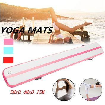 500*40*15cm Pink Inflatable Air Track Gymnastics Tumbling Yoga Mat Practice Training Pad GYM