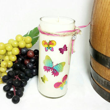 Recycled Miniature Wine Bottle Soy Wax Candle/Colorful Butterflies/Repurposed Glass Bottle Candle/Moscato Wine Scented Candle