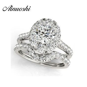 AINUOSHI Luxury 925 Sterling Silver Women Engagement Ring Sets 1 Carat Halo Round Cut Wedding Anniversary Princess Ring Set Gift