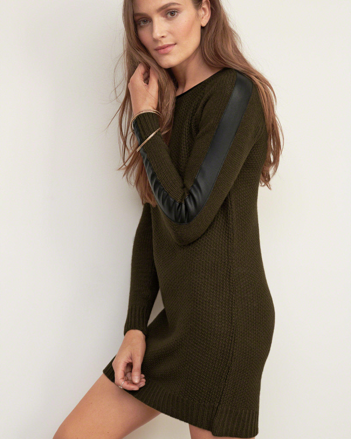 f5488c700791b Faux Leather Trim Sweater Dress from Abercrombie   Fitch