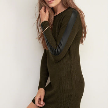 Faux Leather Trim Sweater Dress
