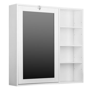 Fold-Out Wall Mount Desk with Storage Cabinet and Shelves, White