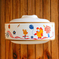 Soviet Pendant Lamp Shade / USSR Vintage Nursery White Drum Ceiling Light, Iconic Russian Cartoon Characters: Винни Пух, Ну Погоди, Ай Болит