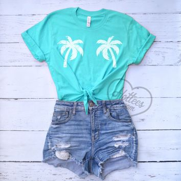 Palm Trees Crop Top Knotted Shirt