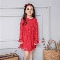 New Spring Autumn Girls Lace Princess Dress Hollow Long-sleeved Chrismas New Year Dresses Girls Clothes Roupa Infantil Feminina