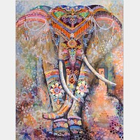 Floral Indian Elephant Tapestry