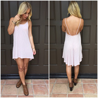 Tough Enough Ribbed Tunic Dress In Blush Pink
