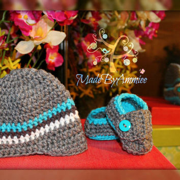 Crochet Newborn/Preemie Teal/Aqua and Gray Newsboy Cap and Loafers,  Crochet Boys Newborn Newsboy Cap and Loafers