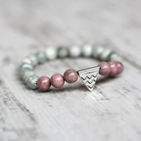 Cyber Monday SALE bracelet Tender pastel  triangle beaded bracelet girlfriend gift stretch bracelet wife gift birthday gift fash