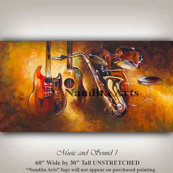 Music Painting Wall Art - Guitar Art - Abstract Music Room Decor Rock Band - Saxophones - Drum - Huge Music Art For the Music Lover Gold Art