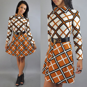 60s MOD dress groovy op art plaid RETRO by rockstreetvintage
