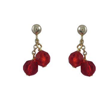 6mm Red Preciosa Beads On Gold Tone Sterling Silver Ball Post Earrings -0.80