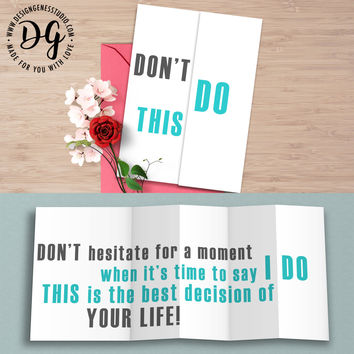 "Funny wedding card ""Don't do it"" hidden message sarcastic wedding card"