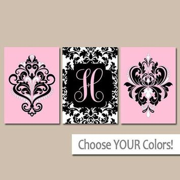 Pink Black Wall Art, Damask Monogram Decor, Baby Girl Nursery Pictures, Girl Bedroom Decor, Last Name Initial, Set of 3 Canvas or Prints