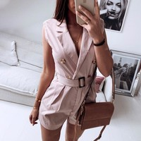 Elegant V-neck women playsuit Sleeveless sash belt button short jumpsuit romper Casual streetwear ladies overalls