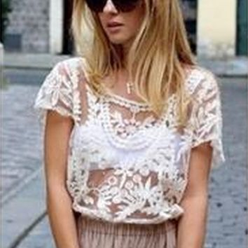 Crochet Lace Blouse - Short Sleeve