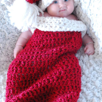 Crochet Christmas Cocoon and Santa Hat, Crochet Holiday Cocoon and Hat