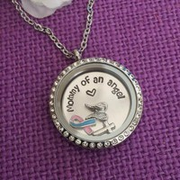 Mommy of an Angel Miscarriage Awareness Necklace, Angel Baby Floating locket angel wings, infant loss ribbon and cross.
